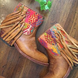Shoes - Uxibal Fringe ankle boots made in Guatemala